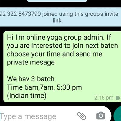 Online yoga for beginners WhatsApp Group